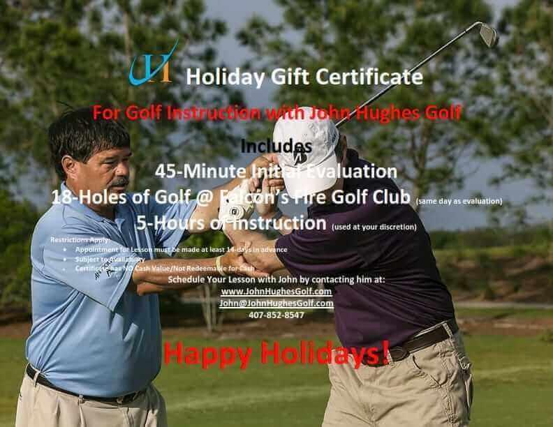 John Hughes Golf, Cyber Monday, Holiday Gift Certificate, Orlando Golf Schools, Orlando Golf Lessons, Orlando Beginner Golf Lessons, Orlando Women's Golf Lessons