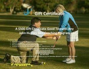 John Hughes Golf, $500 Gift Certificate, Orlando Golf Lessons, Orlando Golf Schools, Florida Golf Schools, Florida Golf Lessons